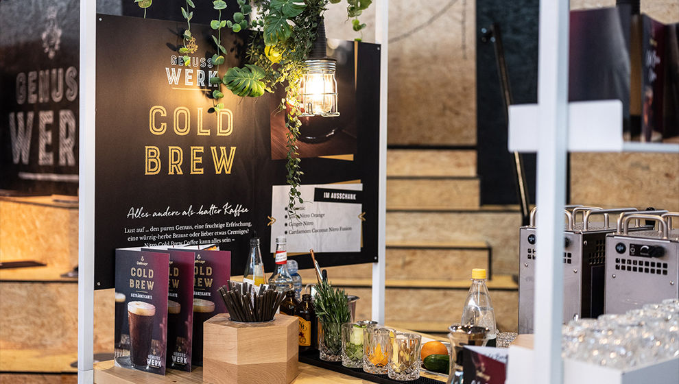 Cold brew Messestand Detailansicht